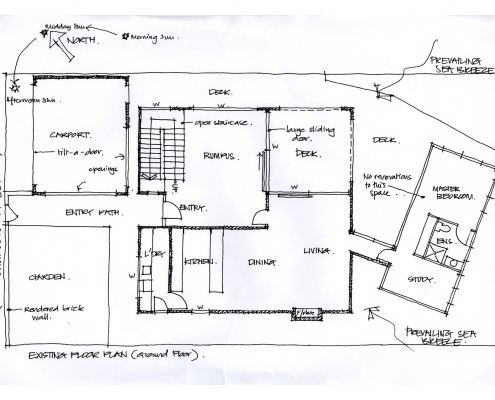 Initial sketches of existing plan view.